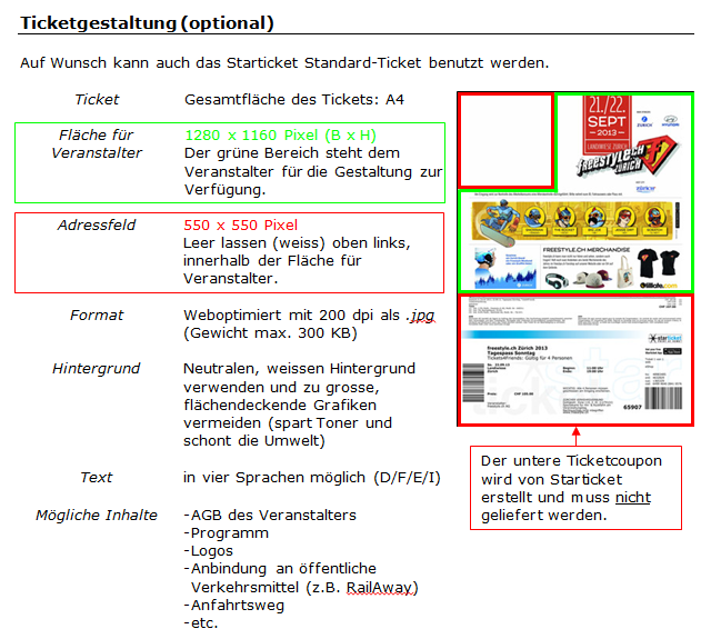 Anleitung für die Ticket-Gestaltung