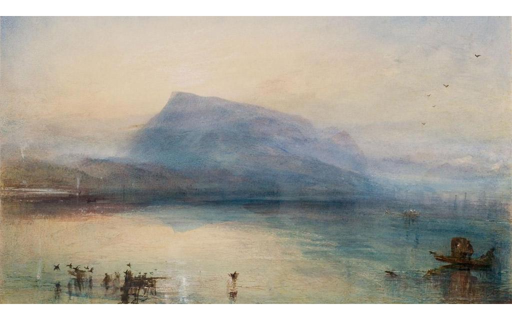 Bild Landschaft Turner Berg Vögel Enten Boot See